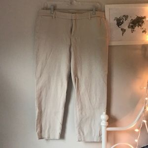 Light tan cropped work pants